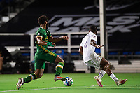 LAKE BUENA VISTA, FL - AUGUST 11: Larrys Mabiala #33 of the Portland Timbers dribbles the ball during a game between Orlando City SC and Portland Timbers at ESPN Wide World of Sports on August 11, 2020 in Lake Buena Vista, Florida.