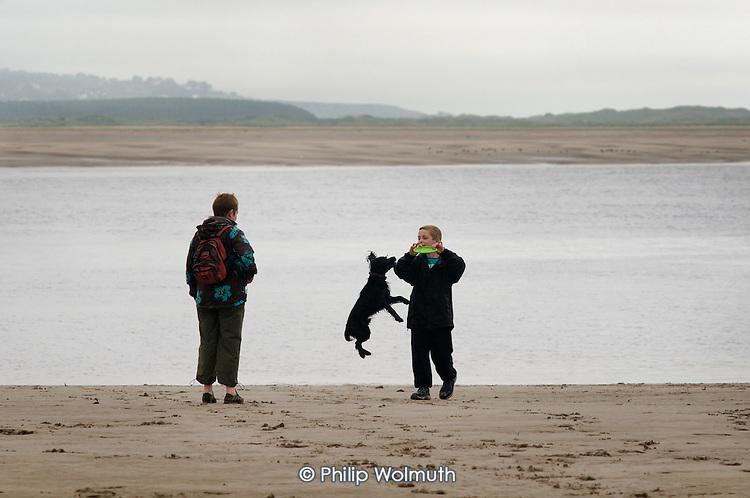 A boy plays with a dog on the beach at Borth-y-Gest, Porthmadog, North Wales
