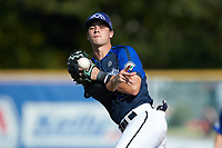 Martinsville Mustangs second baseman Jack Elliot (21) (Mercyhurst) makes a throw to first base against the High Point-Thomasville HiToms at Finch Field on July 26, 2020 in Thomasville, NC.  The HiToms defeated the Mustangs 8-5. (Brian Westerholt/Four Seam Images)