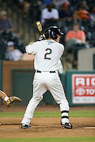 Casey Soltis (2) of the Greensboro Grasshoppers at bat against the Kannapolis Intimidators at NewBridge Bank Park on July 7, 2016 in Greensboro, North Carolina.  The Dash defeated the Pelicans 13-9.  (Brian Westerholt/Four Seam Images)