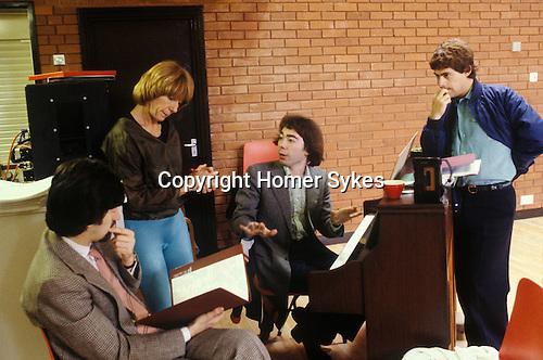 Trevor Nunn Gillian Lynne Andrew Lloyd Webber Cameron Mackintosh London England circa 1985. Working on the new musical Cats.