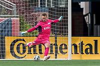 FOXBOROUGH, MA - MAY 12: Joe Rice #51 of New England Revolution II takes a goal kick during a game between Union Omaha and New England Revolution II at Gillette Stadium on May 12, 2021 in Foxborough, Massachusetts.