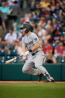 Trenton Thunder center fielder Trey Amburgey (14) follows through on a swing during a game against the Richmond Flying Squirrels on May 11, 2018 at The Diamond in Richmond, Virginia.  Richmond defeated Trenton 6-1.  (Mike Janes/Four Seam Images)