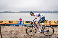 CX world champion Mathieu Van der Poel (NED/Alpecin-Fenix) plowing through the sand sections<br /> <br /> 2020 Scheldecross Antwerp (BEL)<br /> <br /> ©kramon