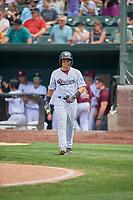 Hector Pineda (3) of the Idaho Falls Chukars walks up to bat against the Orem Owlz at Melaleuca Field on July 14, 2019 in Idaho Falls, Idaho. The Owlz defeated the Chukars 6-2. (Stephen Smith/Four Seam Images)