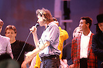 Live Aid 1985 Wembley Stadium, London , England. Bob Geldolf, Paul McCartney, Andrew Ridgeley, Bono, David Bowie