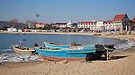 Rocky Point, Beach And Fishing Boats From Tiger Rocks, Beidaihe (Peitaiho).