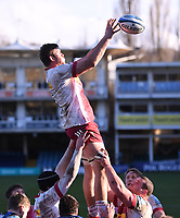 6th February 2021; Recreation Ground, Bath, Somerset, England; English Premiership Rugby, Bath versus Harlequins; Stephan Lewies of Harlequins wins the lineout ball