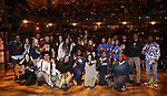 "Gabriella Sorrentino with student performers during the Q & A before The Rockefeller Foundation and The Gilder Lehrman Institute of American History sponsored High School student #eduHAM matinee performance of ""Hamilton"" at the Richard Rodgers Theatre on 3/12/2020 in New York City."