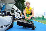 GER - Mannheim, Germany, May 24: Before the U16 Girls match between Australia (green) and Germany (white) during the international witsun tournament on May 24, 2015 at Mannheimer HC in Mannheim, Germany. Final score 0-6 (0-3). (Photo by Dirk Markgraf / www.265-images.com) *** Local caption *** Hannah Astbury #17 of Australia