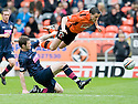 :: DUNDEE UTD'S CRAIG CONWAY IS CAUGHT LATE BY HEARTS' DARREN BARR :: .15/05/2011   Copyright  Pic : James Stewart.sct_jsp015_dundee_utd_v_hearts .James Stewart Photography 19 Carronlea Drive, Falkirk. FK2 8DN      Vat Reg No. 607 6932 25.Telephone      : +44 (0)1324 570291 .Mobile              : +44 (0)7721 416997.E-mail  :  jim@jspa.co.uk.If you require further information then contact Jim Stewart on any of the numbers above.........