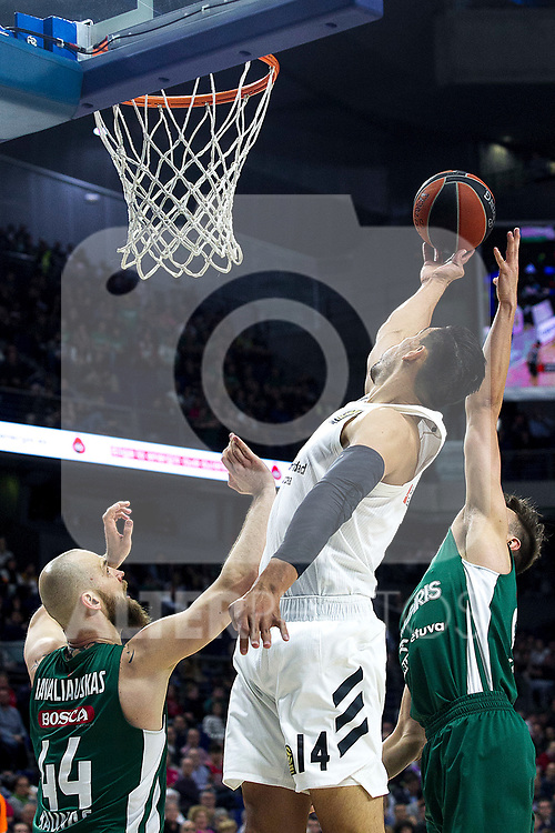 Zalgiris' Antanas Kavaliauskas and Real Madrid's Gustavo Ayon during Euroligue match between Real Madrid and Zalgiris Kaunas at Wizink Center in Madrid, Spain. April 4, 2019.  (ALTERPHOTOS/Alconada)