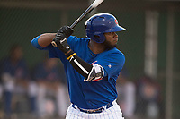 AZL Cubs 1 left fielder Rafael Mejia (58) at bat during an Arizona League game against the AZL Padres 1 at Sloan Park on July 5, 2018 in Mesa, Arizona. The AZL Cubs 1 defeated the AZL Padres 1 3-1. (Zachary Lucy/Four Seam Images)