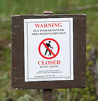 This area was closed due to foot traffic due to bear activity.  These signs are commonplace in spring in Yellowstone.