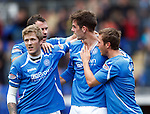 St Johnstone v Hearts...25.09.11   SPL Week 9.Cillian Sheridan celebrates his first goal with Willie Gibson, David McCracken an Chris Millar.Picture by Graeme Hart..Copyright Perthshire Picture Agency.Tel: 01738 623350  Mobile: 07990 594431