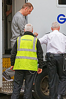Pictured: Christopher Kerrell (TOP) being led by security staff into Cardiff Crown Court. Monday 30 April 2018<br /> Re: Christopher Kerrell, 35 has appeared before a judge at Cardiff Crown Court, charged with murdering Hollie Kerrell, a mother of three who had been missing for four days at Knighton, mid Wales, UK.<br /> Kerrell, who lives at the Whitton area, Knighton, Powys, was charged with killing Hollie Kerrell, 28, when he appeared before Merthyr Magistrates on Sunday.<br /> The body of Ms Kerrell, also of Knighton, was discovered at a farm on Thursday.