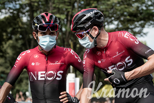 Egan Bernal (COL/Ineos) & Chris Froome (GBR/Ineos) (checking strategies?) at the race start in Clermont-Ferrand<br /> <br /> Stage 1: Clermont-Ferrand to Saint-Christo-en-Jarez (218km)<br /> 72st Critérium du Dauphiné 2020 (2.UWT)<br /> <br /> ©kramon