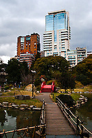 Japanese garden and buildings in Buenos Aires, Argentina