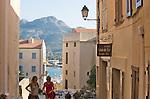 Stone steps and passage ways in the Citadel, Calvi, Northwest coast of Corsica, France, Mediterranean Coast, Coastal towns in Corsica,