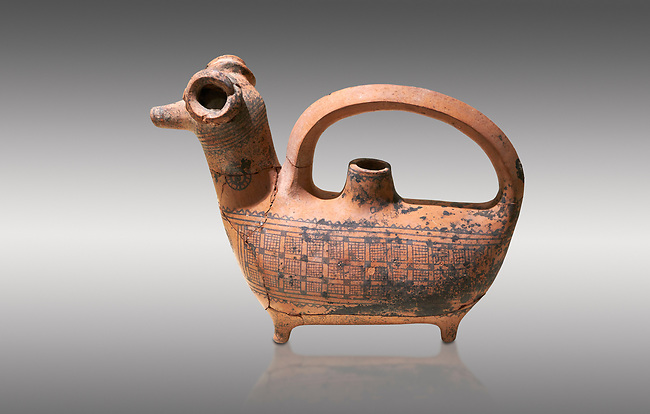 Phrygian decorated  terra cotta pottery  rhyton in the shape of a ram from Gordion. Phrygian Collection, 8th century BC - Museum of Anatolian Civilisations Ankara. Turkey.