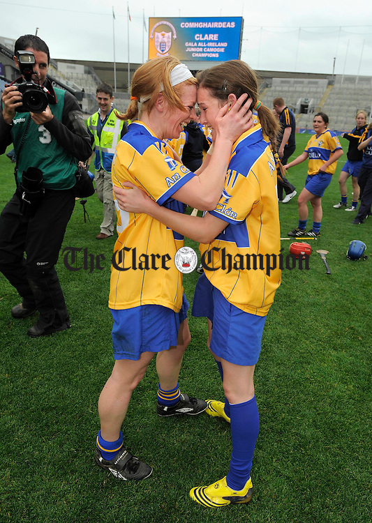 Deirdre Murphy and Carina Roseingrave celebrate their win after the final whistle in the All-Ireland junior camogie final at Croke Park. Photograph by John Kelly.