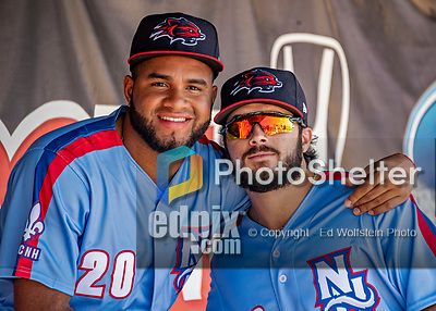 23 June 2019: New Hampshire Fisher Cats pitcher Yennsy Diaz (left) poses with teammate Brock Lundquist prior to a game against the Trenton Thunder at Northeast Delta Dental Stadium in Manchester, NH. The Thunder defeated the Fisher Cats 5-2 in Eastern League play. Mandatory Credit: Ed Wolfstein Photo *** RAW (NEF) Image File Available ***