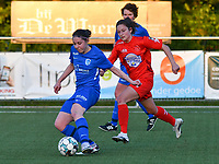 Lorene Martin (6) of KRC Genk and Kenza Vrithof (9) of Woluwe in action during a female soccer game between  Racing Genk Ladies and White Star Woluwe on the 8 th matchday of play off 2 in the 2020 - 2021 season of Belgian Scooore Womens Super League , tuesday 18 th of May 2021  in Genk , Belgium . PHOTO SPORTPIX.BE | SPP | JILL DELSAUX