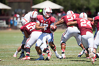 STANFORD,CA-- August 24, 2013: Ryan Burns during the open practice at the Dan Elliott Practice Field Saturday.<br /> <br /> It was part the Stanford Football 2013 Open House.