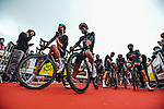 Ineos Grenadiers at sign on before Stage 2 of the 2021 Tour de France, running 183.5km from Perros-Guirec to Mur-de-Bretagne Guerledan, France. 27th June 2021.  <br /> Picture: A.S.O./Charly Lopez   Cyclefile<br /> <br /> All photos usage must carry mandatory copyright credit (© Cyclefile   A.S.O./Charly Lopez)