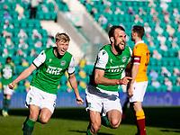 24th April 2021; Easter Road, Edinburgh, Scotland; Scottish Cup fourth round, Hibernian versus Motherwell; Christian Doidge of Hibernian celebrates after scoring the opening goal