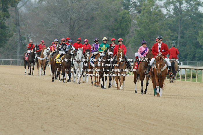 Post parade before the running of the Honeybee Stakes (Grade III) at Oaklawn Park in Hot Springs, Arkansas-USA on March 8, 2014. (Credit Image: © Justin Manning/Eclipse/ZUMAPRESS.com)