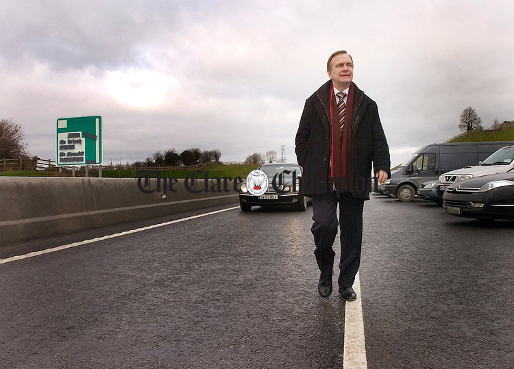 Minister for Transport Martin Cullen TD arriving at the official opening of the N18 Ennis Bypass.Pic Arthur Ellis.