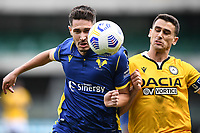 Mert Cetin of Udinese and Kevin Lasagna of Hellas Verona <br /> during the Serie A football match between Hellas Verona and Udinese Calcio at Marcantonio Bentegodi Stadium in Verona (Italy), September 27th, 2020. Photo Image Sport / Insidefoto
