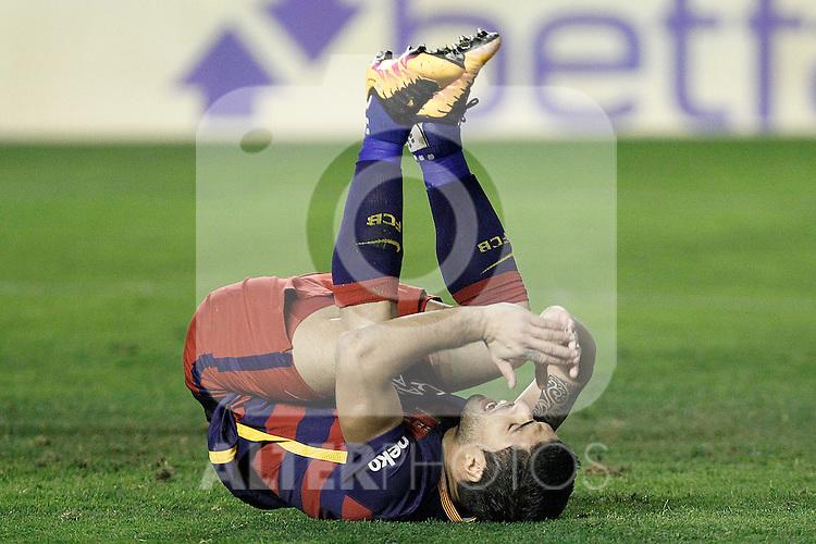 FC Barcelona's Luis Suarez dejected during La Liga match. March 3,2016. (ALTERPHOTOS/Acero)