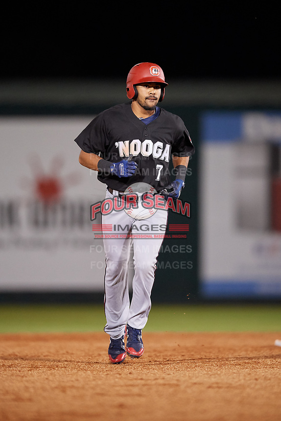 Chattanooga Lookouts designated hitter LaMonte Wade (7) rounds the bases after hitting a home run in the top of the fifth inning during a game against the Mobile BayBears on May 5, 2018 at Hank Aaron Stadium in Mobile, Alabama.  Chattanooga defeated Mobile 11-5.  (Mike Janes/Four Seam Images)