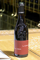 bottle with moulded relief on the neck les gallimardes domaine giraud chateauneuf du pape rhone france