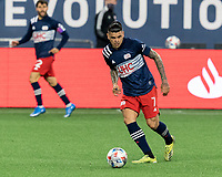 FOXBOROUGH, MA - APRIL 24: Gustavo Bou #7 of New England Revolution looks to pass during a game between D.C. United and New England Revolution at Gillette Stadium on April 24, 2021 in Foxborough, Massachusetts.