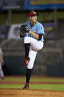 Hickory Crawdads relief pitcher Tai Tiedemann (23) in action against the Charleston RiverDogs at L.P. Frans Stadium on August 10, 2019 in Hickory, North Carolina. The RiverDogs defeated the Crawdads 10-9. (Brian Westerholt/Four Seam Images)