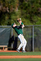Dartmouth Big Green second baseman Sean Sullivan (4) catches a popup in shallow right field during a game against the Northeastern Huskies on March 3, 2018 at North Charlotte Regional Park in Port Charlotte, Florida.  Northeastern defeated Dartmouth 10-8.  (Mike Janes/Four Seam Images)