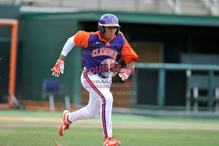 Redshirt freshman outfielder K.J. Bryant (10) (Wade Hampton High School) of the Clemson Tigers in a fall practice intra-squad Orange-Purple scrimmage on Saturday, September 26, 2015, at Doug Kingsmore Stadium in Clemson, South Carolina. (Tom Priddy/Four Seam Images)