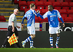 St Johnstone v Aberdeen.....30.01.13      SPL.Gregory Tade celebrates his goal with Steven Maclean.Picture by Graeme Hart..Copyright Perthshire Picture Agency.Tel: 01738 623350  Mobile: 07990 594431