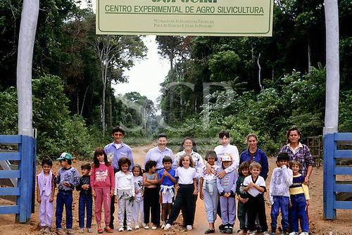 Juruena, Mato Grosso State, Brazil. Pro-Natura silviculture project; schoolchildren at the entrance to the project.