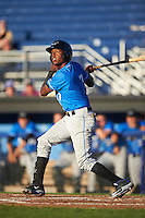 Hudson Valley Renegades shortstop Joseph Astacio (7) at bat during a game against the Batavia Muckdogs on August 2, 2016 at Dwyer Stadium in Batavia, New York.  Batavia defeated Hudson Valley 2-1.  (Mike Janes/Four Seam Images)