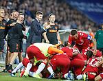 08.08.2019 FC Midtjylland v Rangers: Steven Gerrard leads the applause as Nikola Katic celebrates his goal