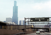 Chicago: Sears Tower from Eisenhower Expressway. Skidmore, Owings & Merrill, Architects. Photo '78.