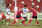 Owen Lane of Wales (from back) tries to stop Tila Mealoi of Samoa who has the ball during the match Wales vs Samoa, Day 2 of the HSBC Singapore Rugby Sevens as part of the World Rugby HSBC World Rugby Sevens Series 2016-17 at the National Stadium on 16 April 2017 in Singapore. Photo by Victor Fraile / Power Sport Images