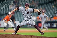 Mississippi State Bulldogs relief pitcher Cole Gordon (24) in action against the Sam Houston State Bearkats in game eight of the 2018 Shriners Hospitals for Children College Classic at Minute Maid Park on March 3, 2018 in Houston, Texas.  The Bulldogs defeated the Bearkats 4-1.  (Brian Westerholt/Four Seam Images)