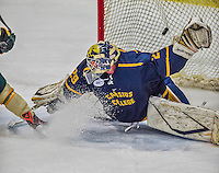 29 December 2013:  Canisius College Golden Griffins goaltender Adam Harris, a Sophomore from Penticton, British Columbia, gives up the tournament-winning goal to University of Vermont Catamount Forward Jake Fallon (not pictured), a Junior from Southlake, Texas, with two seconds remaining in the third period at Gutterson Fieldhouse in Burlington, Vermont. The Catamounts defeated the Golden Griffins 6-2 in the 2013 Sheraton/TD Bank Catamount Cup NCAA Hockey Tournament. Mandatory Credit: Ed Wolfstein Photo *** RAW (NEF) Image File Available ***