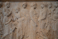 athens archeological museum Votive relief  (from New Phaleron, Attica) dedicated to the river-god Kephisos  ca.410 BC.  women and a child