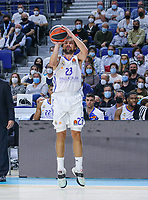 13th October 2021; Wizink Center; Madrid, Spain; Turkish Airlines Euroleague Basketball; game 3; Real Madrid versus AS Monaco; Sergio Llull (Real Madrid Baloncesto) jump shot for three points